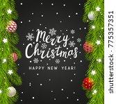 christmas tree branches border... | Shutterstock .eps vector #775357351