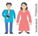 a young couple standing side...   Shutterstock .eps vector #775365154