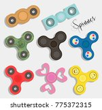 fidget finger spinner set | Shutterstock .eps vector #775372315