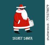 secret santa with case in hand. ... | Shutterstock .eps vector #775378879