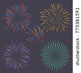 set of colorful exploding... | Shutterstock .eps vector #775381591