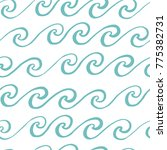 seamless pattern with blue wave ... | Shutterstock .eps vector #775382731