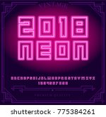 2018 neon vector with alphabet  ... | Shutterstock .eps vector #775384261