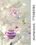white christmas tree close up... | Shutterstock . vector #775385581