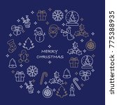 thin line merry christmas icons ... | Shutterstock .eps vector #775388935