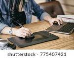 freelance graphic designer...   Shutterstock . vector #775407421