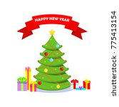 christmas tree vector icon.... | Shutterstock .eps vector #775413154