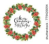 bright green christmas fir... | Shutterstock . vector #775420054