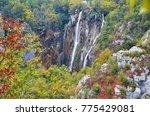 beautiful waterfall on plitvice ... | Shutterstock . vector #775429081