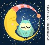 cute cartoon sleeping owl in...   Shutterstock .eps vector #775431451