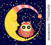 cute cartoon sleeping owl in... | Shutterstock .eps vector #775431454