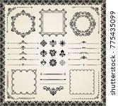 vintage set of horizontal ... | Shutterstock . vector #775435099