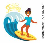 surfer girl rides the waves.... | Shutterstock .eps vector #775439587