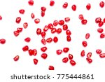 scattered pomegranate grain... | Shutterstock . vector #775444861