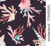Watercolor Sea Pattern  Shell...