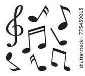 set of music notes. black... | Shutterstock .eps vector #775459015