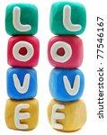 plasticine letteron a white background LOVE - stock photo
