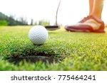 golfer asian woman putting golf ... | Shutterstock . vector #775464241