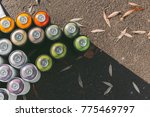 Top View Of Cans With Colorful...