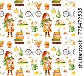 lovely autumn seamless pattern...   Shutterstock . vector #775479535