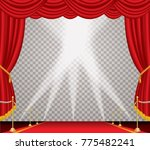 opened stage with red curtain...   Shutterstock .eps vector #775482241