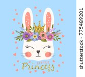 princess. cute bunny with crown ... | Shutterstock .eps vector #775489201