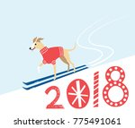 2018 new year card with cute... | Shutterstock .eps vector #775491061