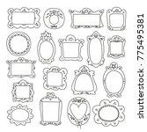 hand drawn vector frames. cute... | Shutterstock .eps vector #775495381