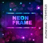 colorful neon rectangle frame... | Shutterstock .eps vector #775495525