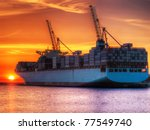 Huge Container Cargo Ship At...