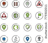 line vector icon set   globe... | Shutterstock .eps vector #775502011