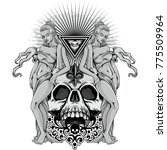 gothic coat of arms with skull... | Shutterstock .eps vector #775509964