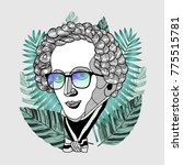 hipster portrait of composer... | Shutterstock .eps vector #775515781