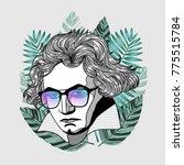 hipster portrait of composer... | Shutterstock .eps vector #775515784