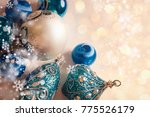 shiny christmas background with ... | Shutterstock . vector #775526179