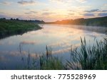 Small photo of Foggy summer landscape.River Krasivaya Mecha in Tula region,Russia. Colorful sunrise with beautiful clouds in sky.