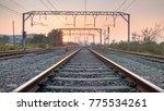 railways tracks  sunset    Shutterstock . vector #775534261