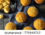 Stock photo golden sweet homemade cornbread muffins for lunch 775543717