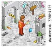 man with tablet navigation... | Shutterstock .eps vector #775545979