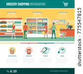 grocery shopping  supermarket... | Shutterstock .eps vector #775547815
