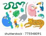 hand drawn various jungle...   Shutterstock .eps vector #775548091