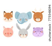 Stock vector set of six cute cartoon animals cute fox alephant deer piggy bunny and hippo animals set can 775548094