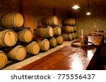 basement interior with wine... | Shutterstock . vector #775556437