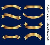 set of golden ribbons vector.  | Shutterstock .eps vector #775563499