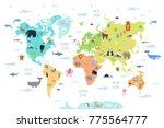 world map with wild animals... | Shutterstock .eps vector #775564777