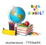 stack of books  red apple ... | Shutterstock . vector #77556694