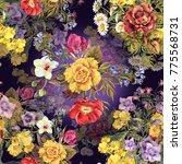 watercolor different bouquets... | Shutterstock . vector #775568731