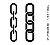 set of metal chain  black icons.... | Shutterstock .eps vector #775574587
