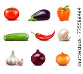 set of fresh vegetables in... | Shutterstock . vector #775586464