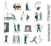 mental illnesses icons set with ... | Shutterstock . vector #775586707
